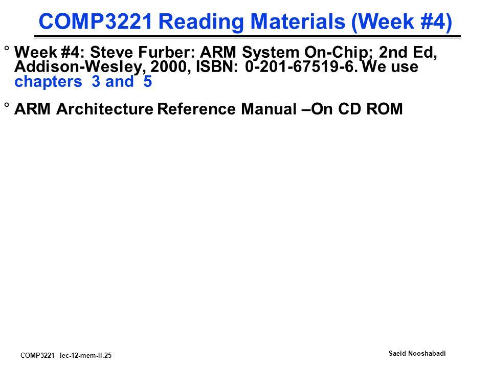 COMP3221 lec-12-mem-II.25 Saeid Nooshabadi COMP3221 Reading Materials (Week #4) °Week #4: Steve Furber: ARM System On-Chip; 2nd Ed, Addison-Wesley, 2000, ISBN: 0-201-67519-6.