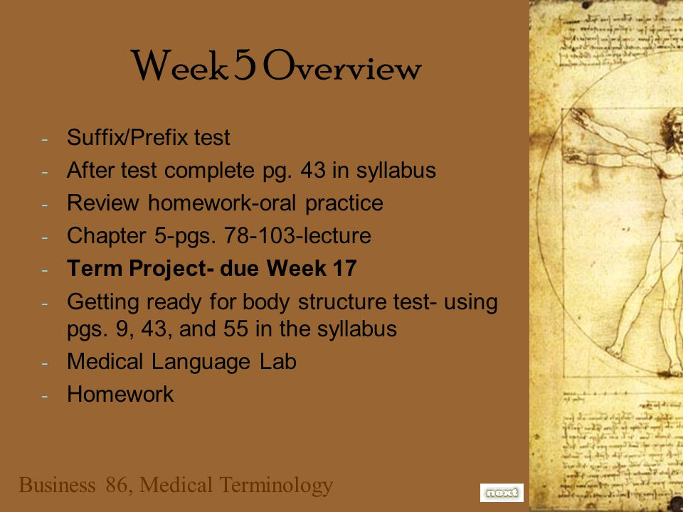 Business 86, Medical Terminology Week 5 Overview - Suffix/Prefix test - After test complete pg. 43 in syllabus - Review homework-oral practice - Chapt