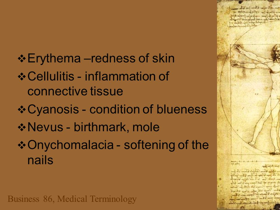 Business 86, Medical Terminology  Erythema –redness of skin  Cellulitis - inflammation of connective tissue  Cyanosis - condition of blueness  Nevus - birthmark, mole  Onychomalacia - softening of the nails
