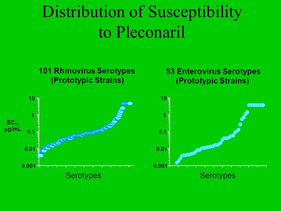 101 Rhinovirus Serotypes (Prototypic Strains) 53 Enterovirus Serotypes (Prototypic Strains) Serotypes 10 1 0.1 0.01 0.001 EC 50  g/mL Distribution of Susceptibility to Pleconaril Serotypes 10 1 0.1 0.01 0.001