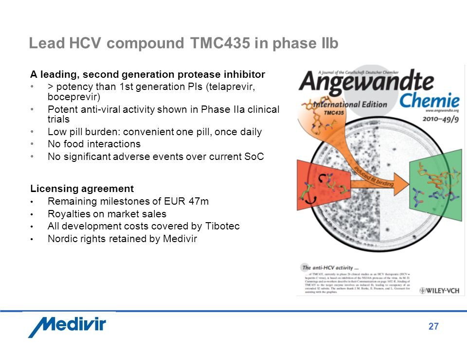 27 Lead HCV compound TMC435 in phase IIb A leading, second generation protease inhibitor > potency than 1st generation PIs (telaprevir, boceprevir) Po