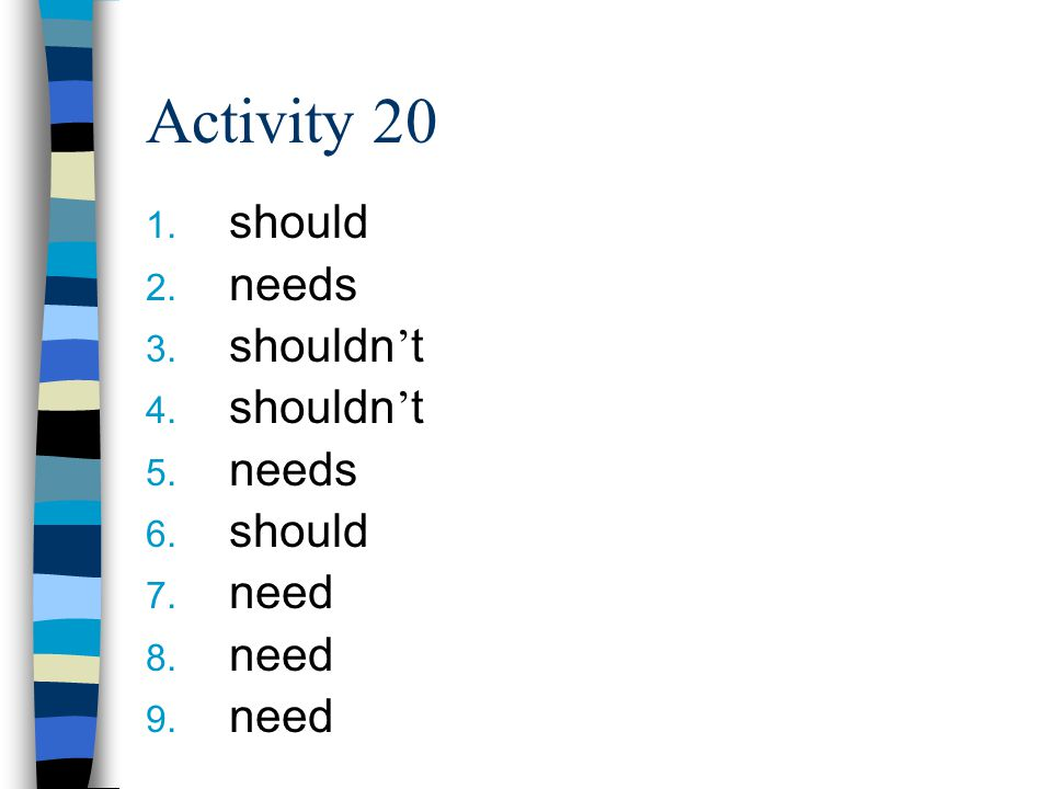 Activity 20 1. should 2. needs 3. shouldn ' t 4.