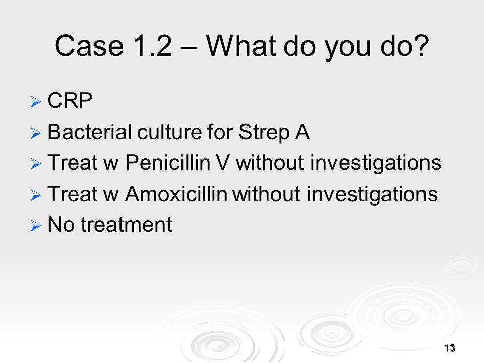 13 Case 1.2 – What do you do.