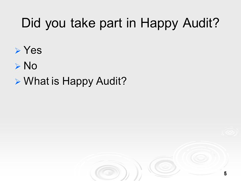 5 Did you take part in Happy Audit  Yes  No  What is Happy Audit
