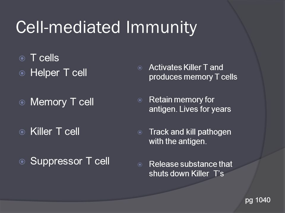 Cell-mediated Immunity  T cells  Helper T cell  Memory T cell  Killer T cell  Suppressor T cell  Activates Killer T and produces memory T cells  Retain memory for antigen.