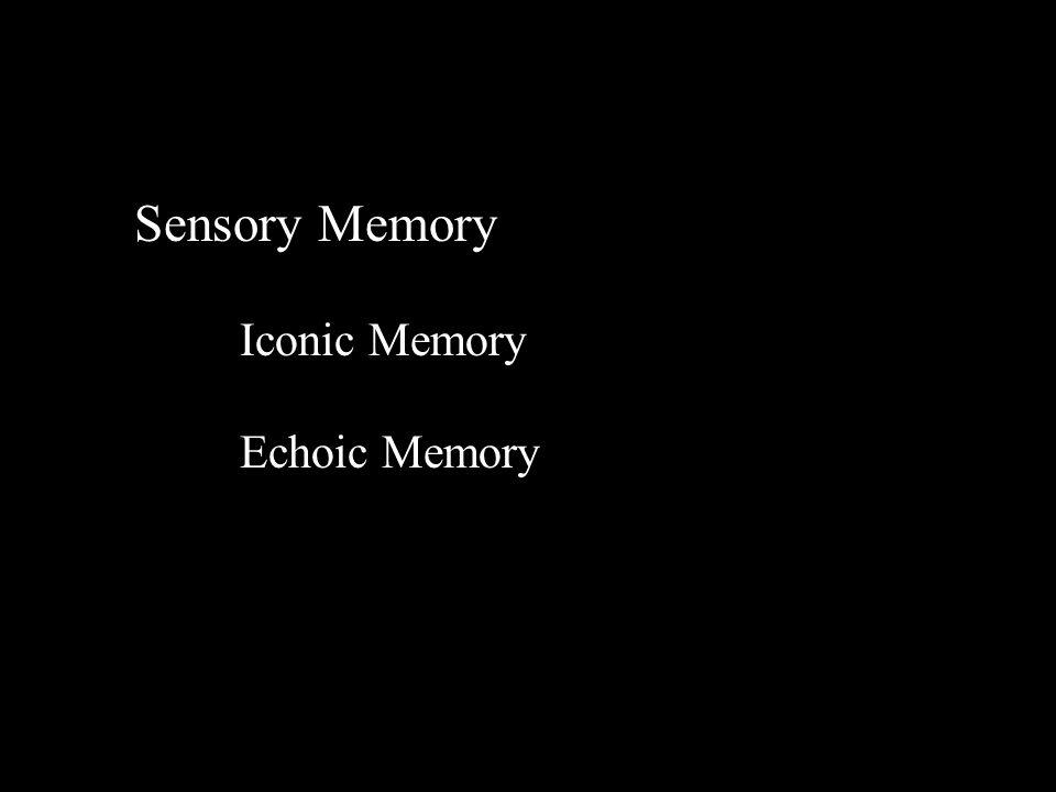 Info SENSORYSENSORY STORESSTORES Short-term Memory Control processes Long- term Memory Atkinson & Shiffrin (1971) Forgetting Response output