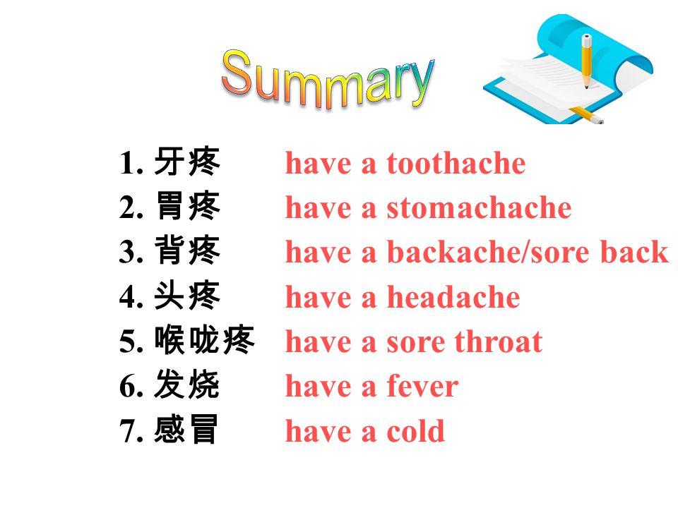 1. 牙疼 2. 胃疼 3. 背疼 4. 头疼 5. 喉咙疼 6. 发烧 7.