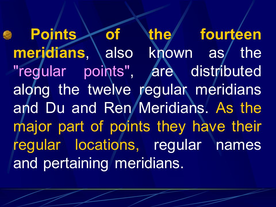 3.2 Classification of Points Points fall roughly into three categories: points of the fourteen meridians, extraordinary points and Ashi points, which