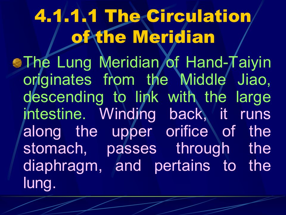 4.1 The Lung Meridian of Hand-Taiyin and its points 4.1.1 The Meridian