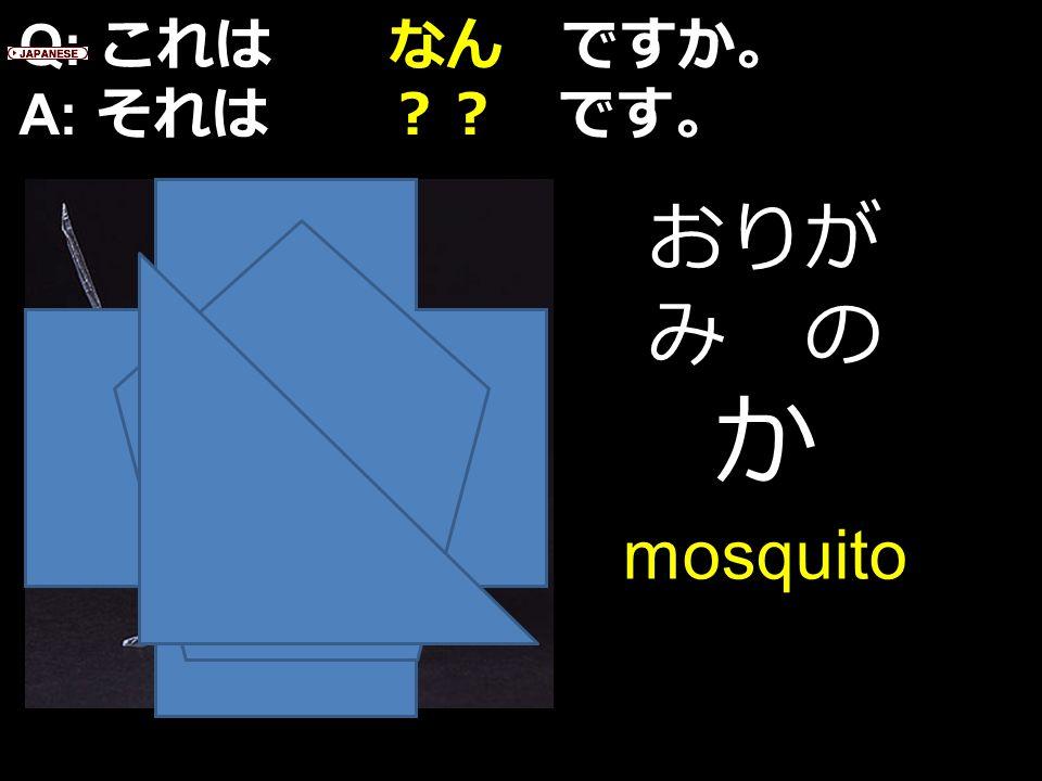 Q: これは なん ですか。 A: それは ?? です。 おりが み の か mosquito