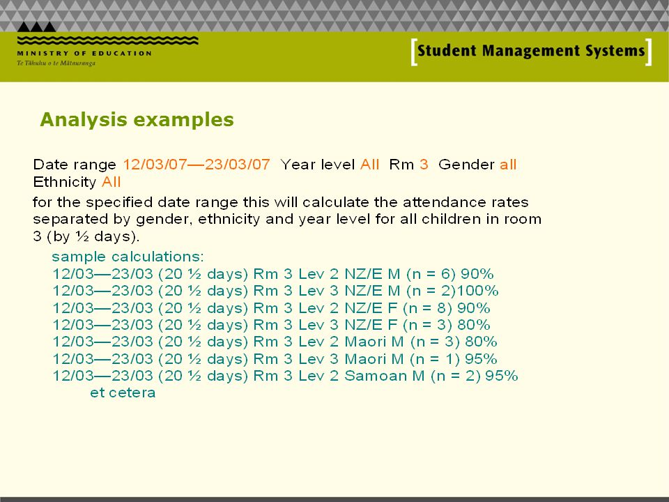 Analysis examples