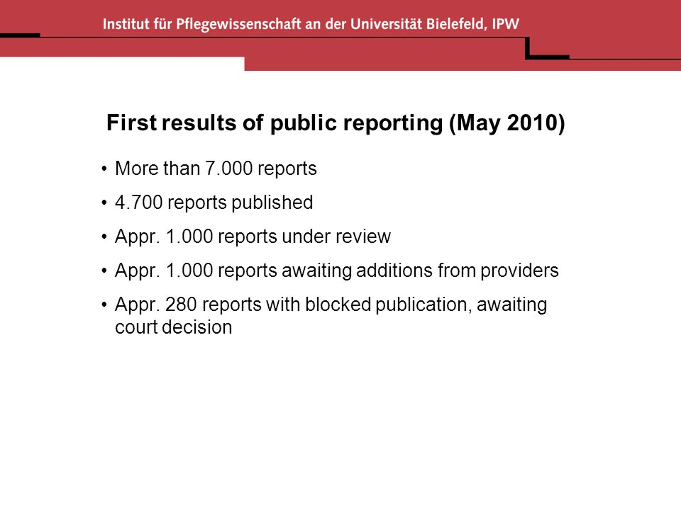First results of public reporting (May 2010) More than 7.000 reports 4.700 reports published Appr. 1.000 reports under review Appr. 1.000 reports awai