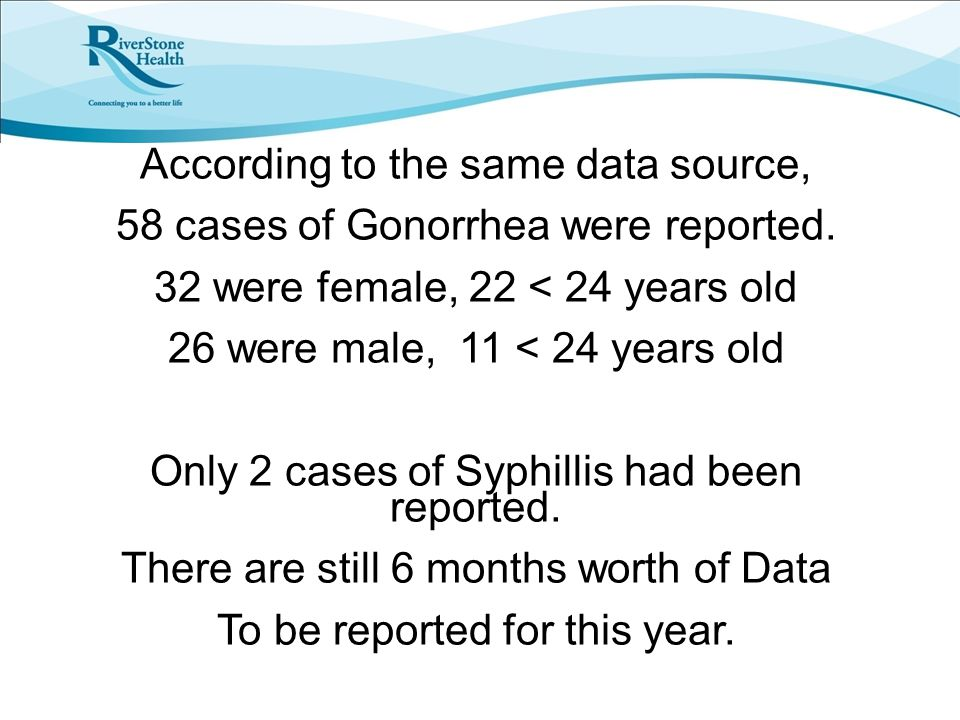 According to the same data source, 58 cases of Gonorrhea were reported.