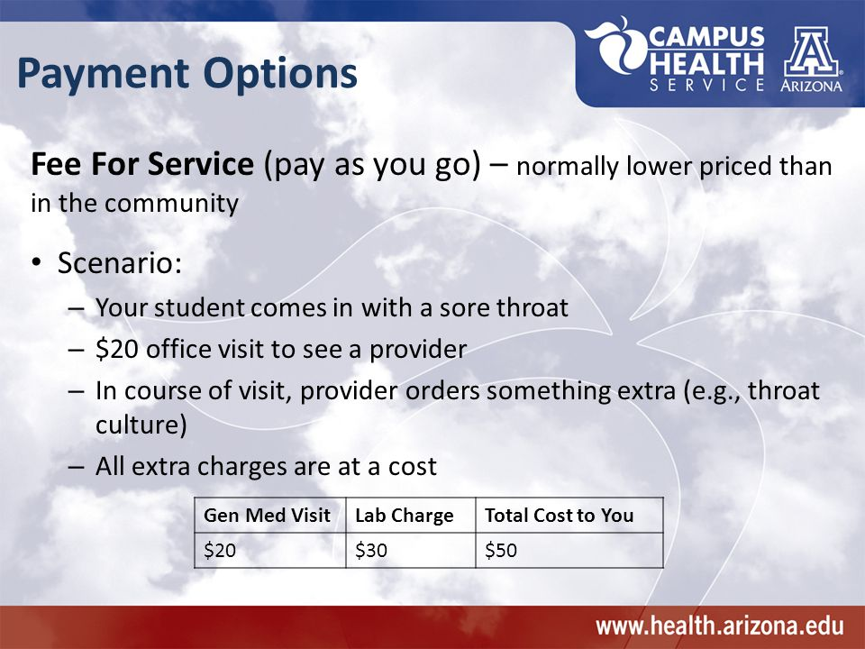 Payment Options Fee For Service (pay as you go) – normally lower priced than in the community Scenario: – Your student comes in with a sore throat – $