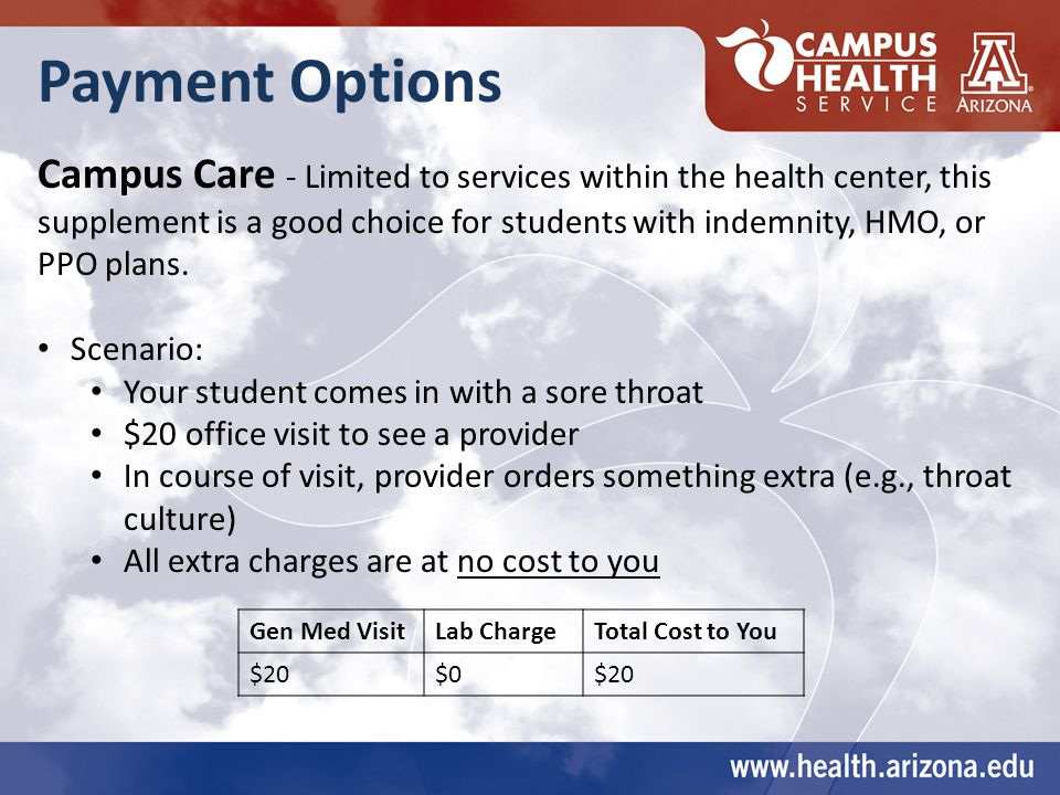 Payment Options Campus Care - Limited to services within the health center, this supplement is a good choice for students with indemnity, HMO, or PPO