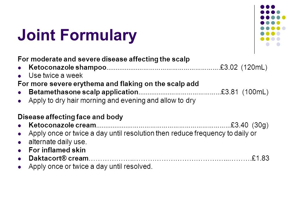 Joint Formulary For moderate and severe disease affecting the scalp Ketoconazole shampoo............................................................£3