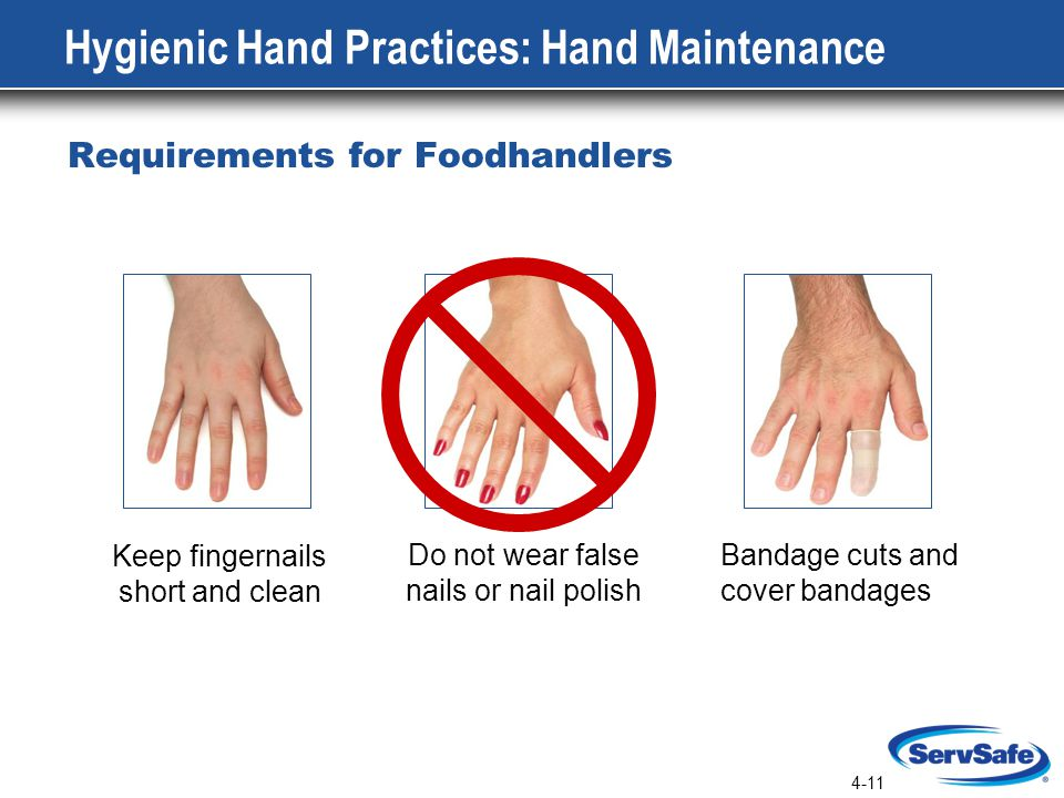 4-11 Hygienic Hand Practices: Hand Maintenance Requirements for Foodhandlers Keep fingernails short and clean Do not wear false nails or nail polish Bandage cuts and cover bandages