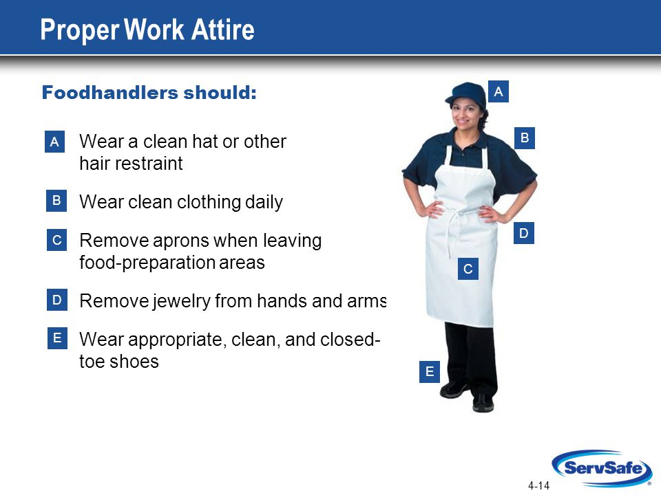 4-14 Wear a clean hat or other hair restraint Wear clean clothing daily Remove aprons when leaving food-preparation areas Remove jewelry from hands and arms Wear appropriate, clean, and closed- toe shoes Proper Work Attire Foodhandlers should: A B C D E A B C D E