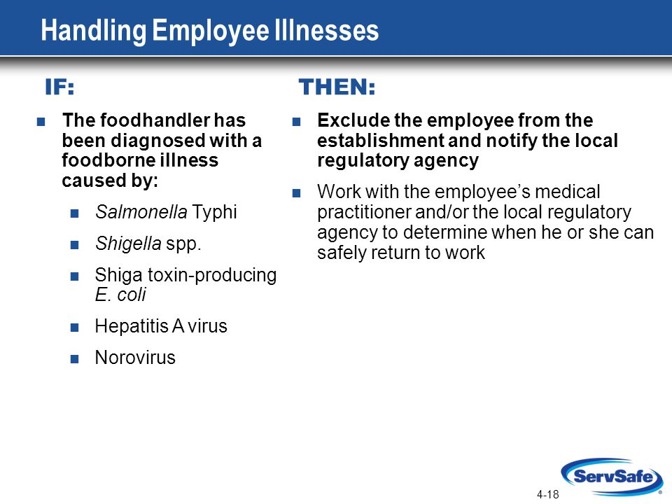 4-18 Handling Employee Illnesses IF: THEN: The foodhandler has been diagnosed with a foodborne illness caused by: Salmonella Typhi Shigella spp.