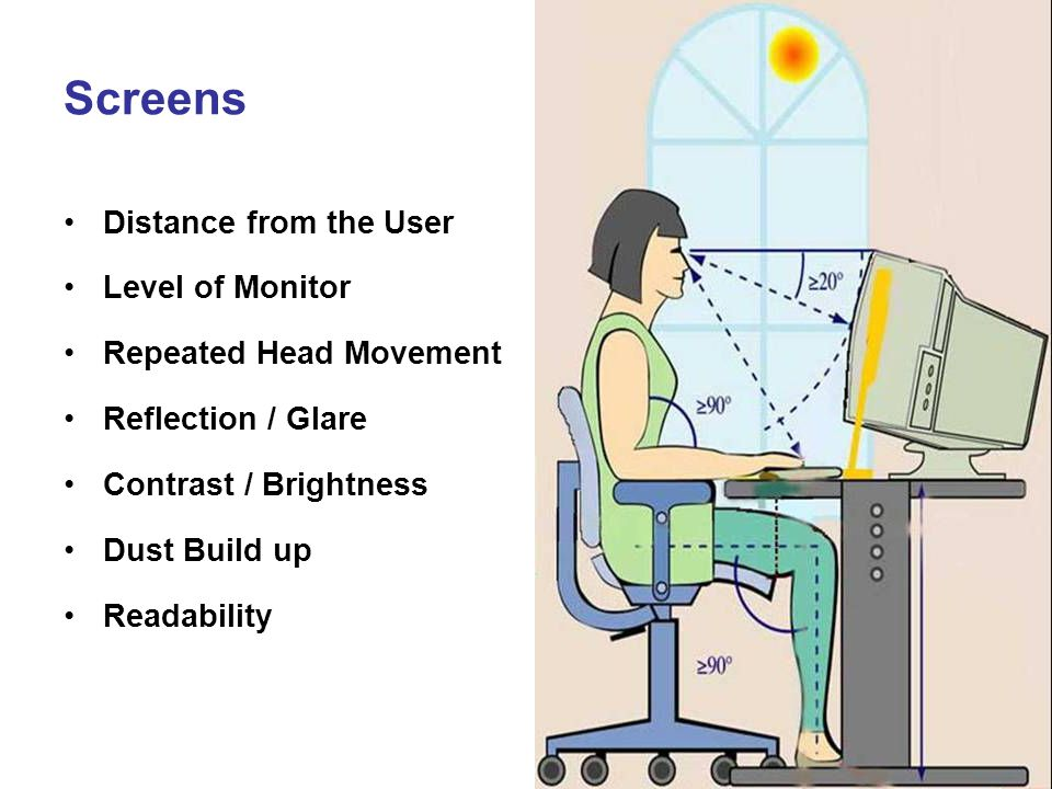 Screens Distance from the User Level of Monitor Repeated Head Movement Reflection / Glare Contrast / Brightness Dust Build up Readability