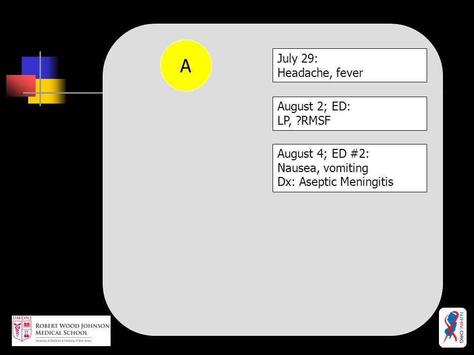 A July 29: Headache, fever August 2; ED: LP, RMSF August 4; ED #2: Nausea, vomiting Dx: Aseptic Meningitis