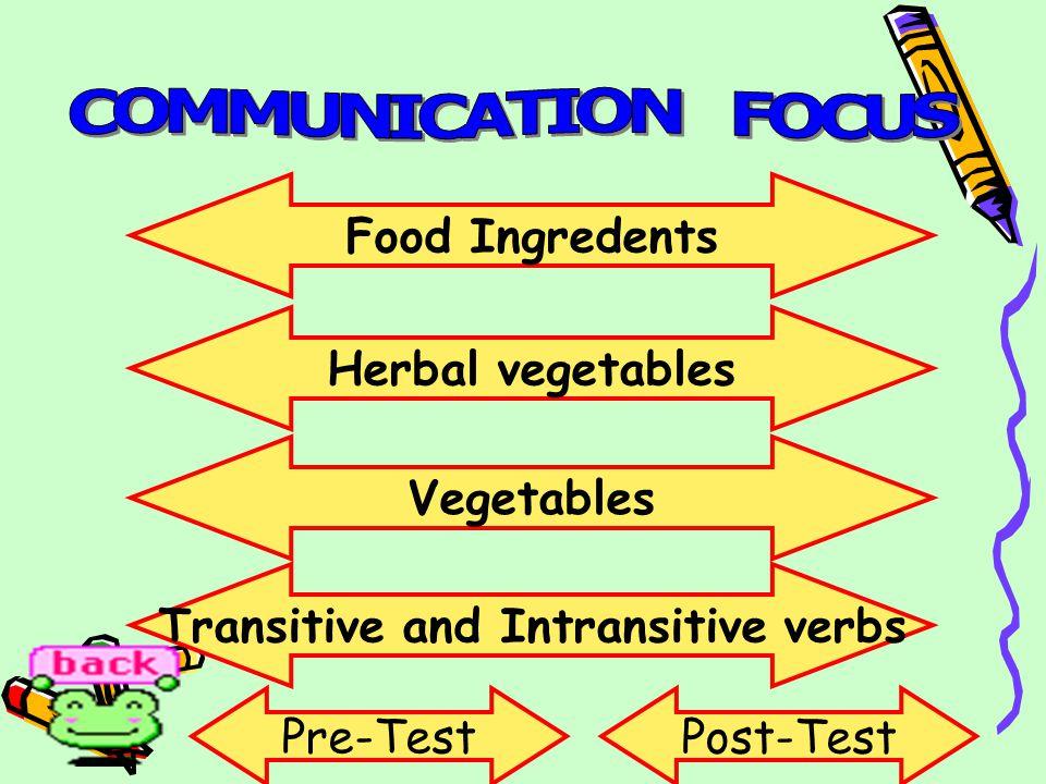 Food Ingredents Pre-TestPost-Test Herbal vegetables Vegetables Transitive and Intransitive verbs