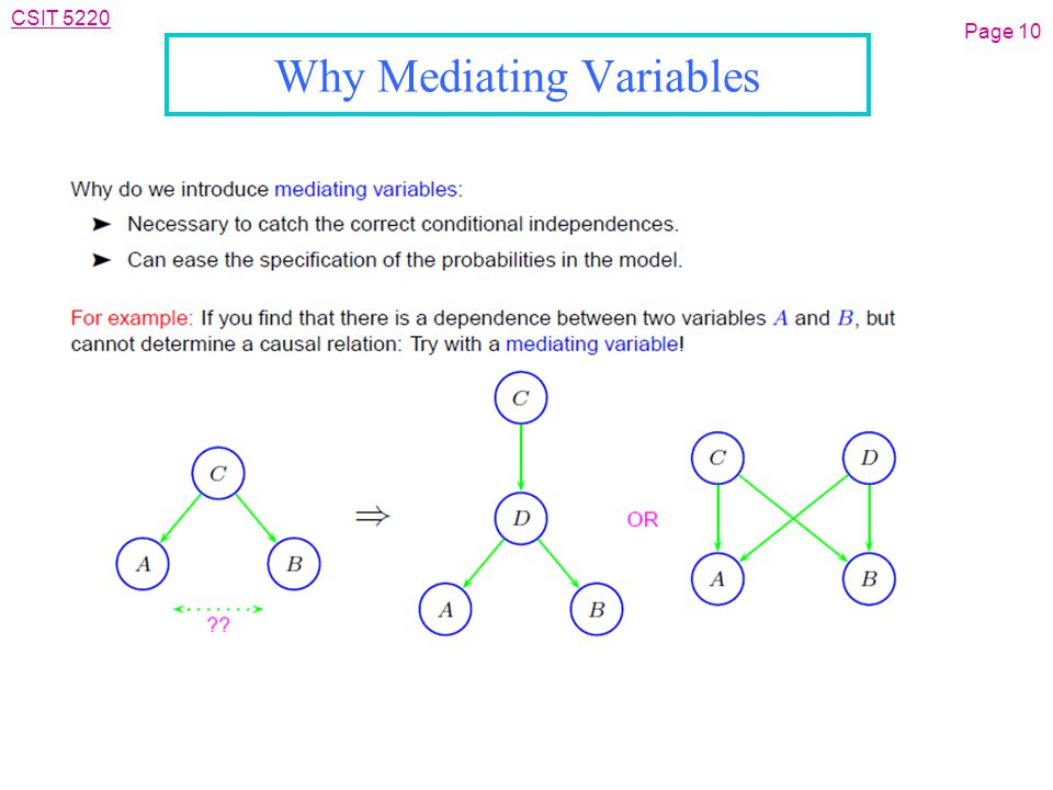 CSIT 5220 Why Mediating Variables Page 10