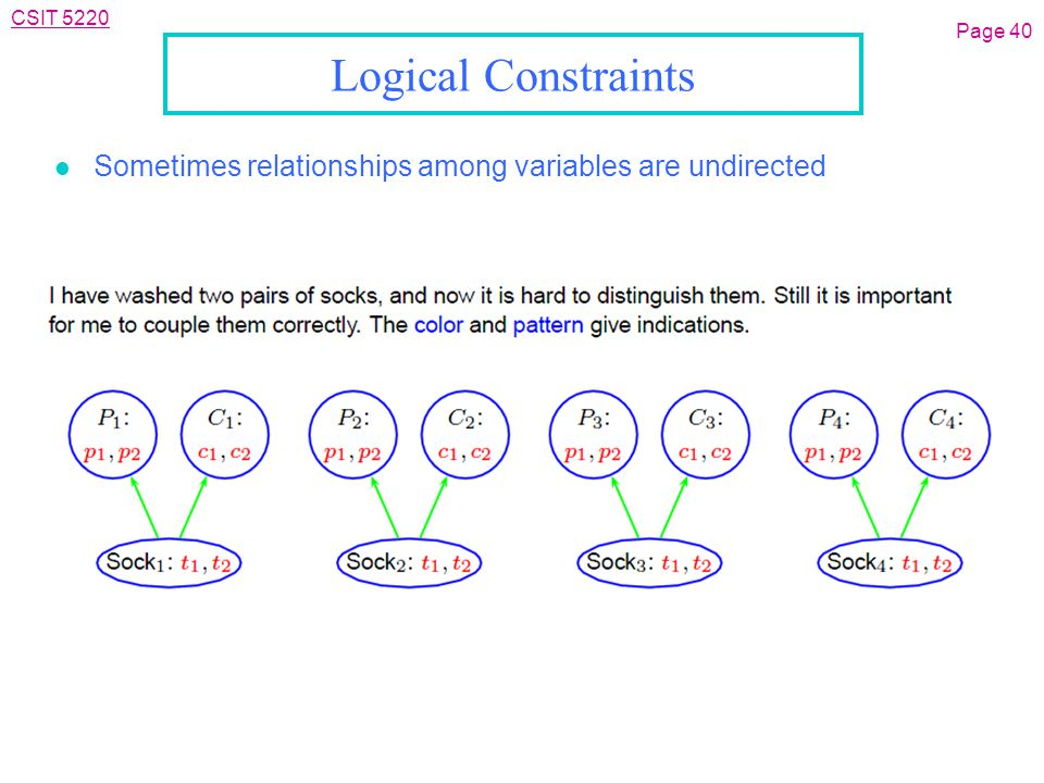 CSIT 5220 Logical Constraints l Sometimes relationships among variables are undirected Page 40