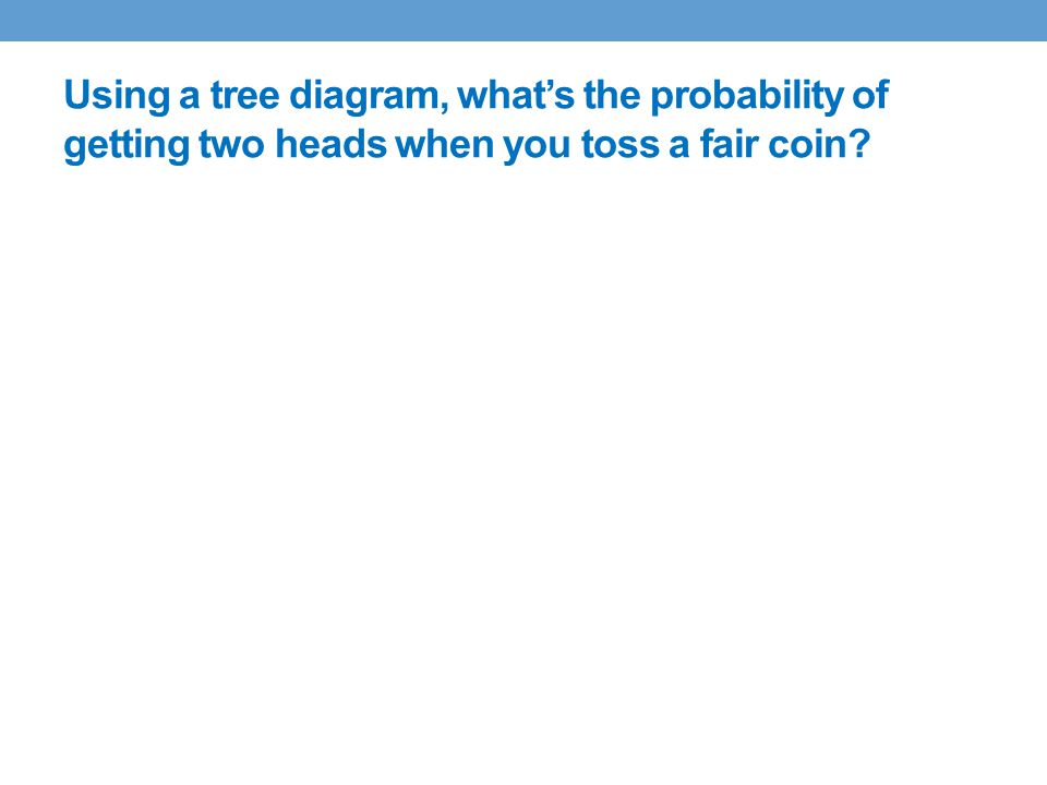 Using a tree diagram, what's the probability of getting two heads when you toss a fair coin