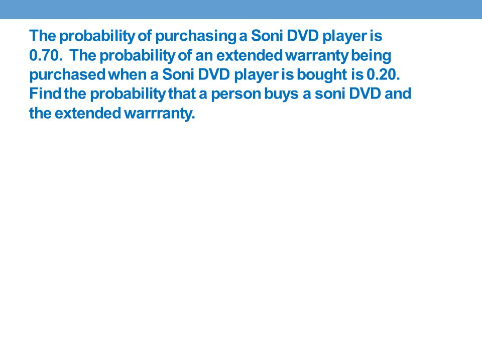 The probability of purchasing a Soni DVD player is 0.70.