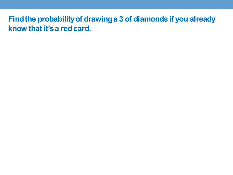 Find the probability of drawing a 3 of diamonds if you already know that it's a red card.