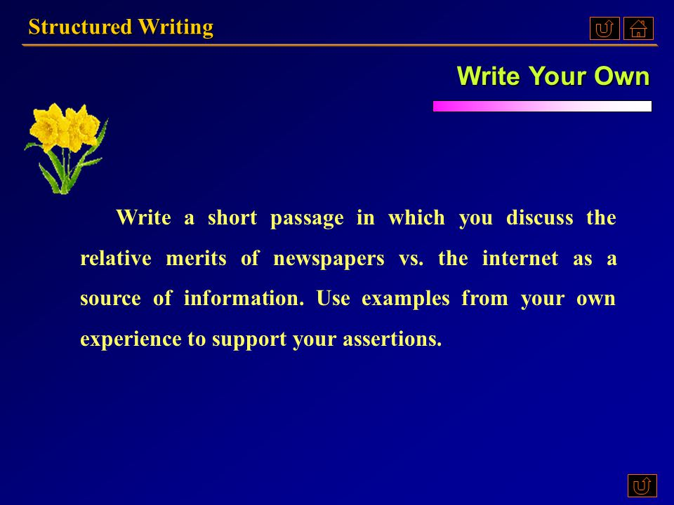 XII. Choose one of the following activities. Structured Writing AAAA BBBB