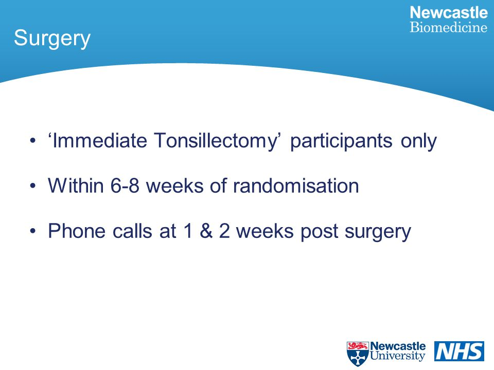 'Immediate Tonsillectomy' participants only Within 6-8 weeks of randomisation Phone calls at 1 & 2 weeks post surgery