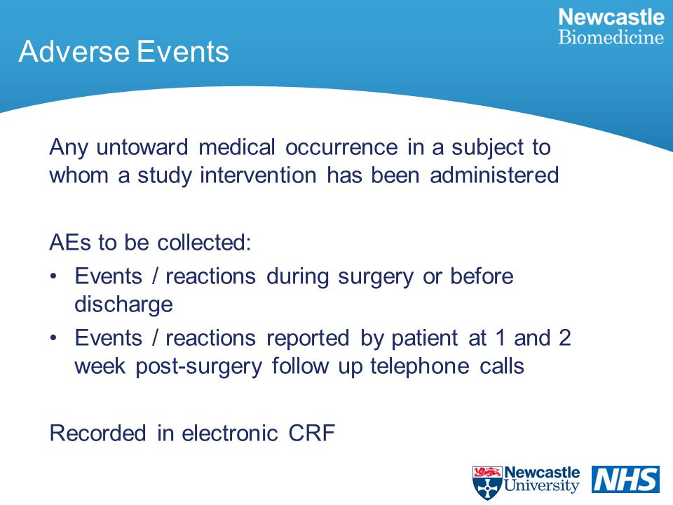 Adverse Events Any untoward medical occurrence in a subject to whom a study intervention has been administered AEs to be collected: Events / reactions during surgery or before discharge Events / reactions reported by patient at 1 and 2 week post-surgery follow up telephone calls Recorded in electronic CRF