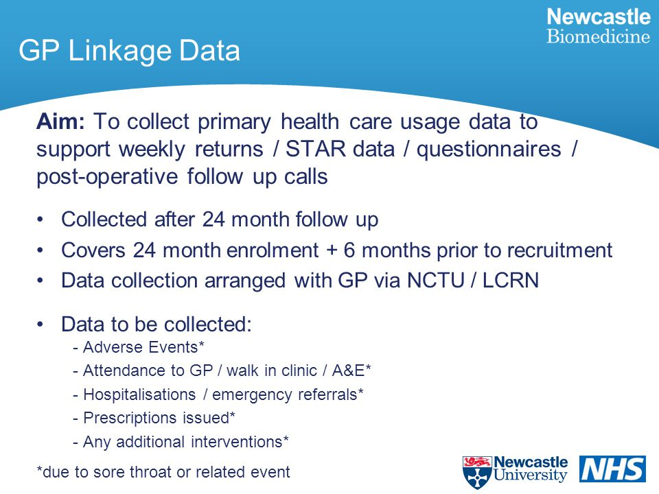 GP Linkage Data Aim: To collect primary health care usage data to support weekly returns / STAR data / questionnaires / post-operative follow up calls Collected after 24 month follow up Covers 24 month enrolment + 6 months prior to recruitment Data collection arranged with GP via NCTU / LCRN Data to be collected: - Adverse Events* - Attendance to GP / walk in clinic / A&E* - Hospitalisations / emergency referrals* - Prescriptions issued* - Any additional interventions* *due to sore throat or related event