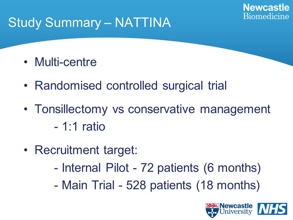 Study Summary – NATTINA Multi-centre Randomised controlled surgical trial Tonsillectomy vs conservative management - 1:1 ratio Recruitment target: - Internal Pilot - 72 patients (6 months) - Main Trial - 528 patients (18 months)