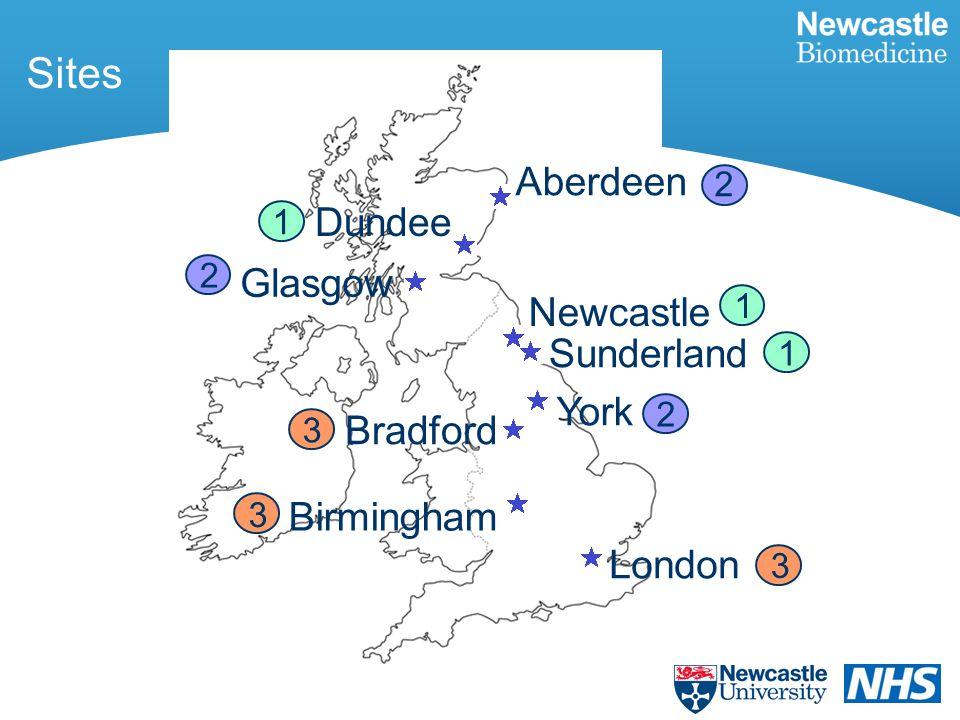 Sites Aberdeen Glasgow Dundee Newcastle Sunderland York Birmingham Bradford London 2 1 1 1 2 2 3 3 3