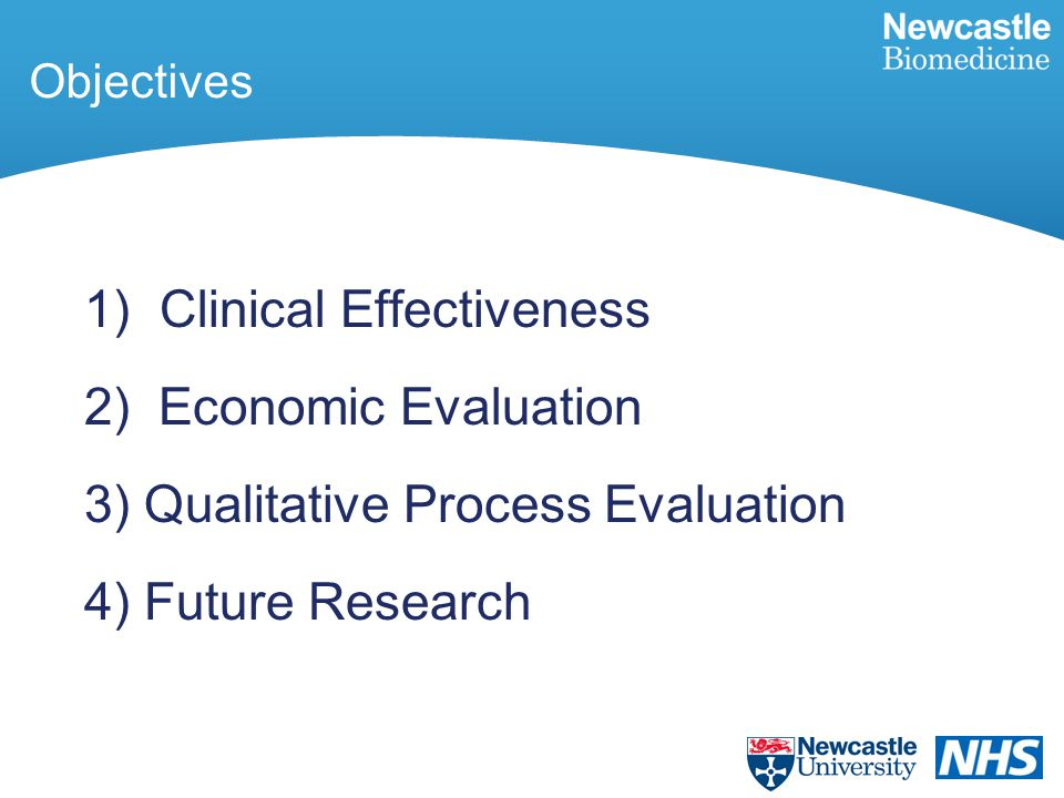 Objectives 1) Clinical Effectiveness 2) Economic Evaluation 3)Qualitative Process Evaluation 4)Future Research