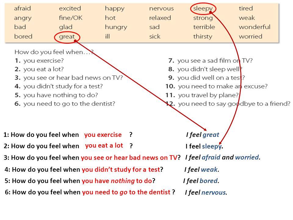 1: How do you feel when ?you exercise 2: How do you feel when .