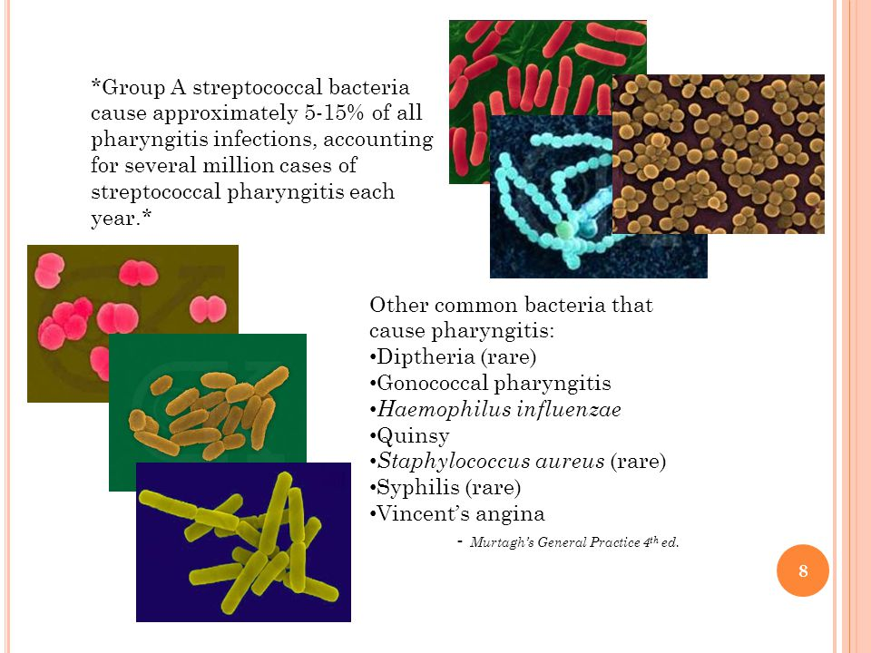 8 *Group A streptococcal bacteria cause approximately 5-15% of all pharyngitis infections, accounting for several million cases of streptococcal pharyngitis each year.* Other common bacteria that cause pharyngitis: Diptheria (rare) Gonococcal pharyngitis Haemophilus influenzae Quinsy Staphylococcus aureus (rare) Syphilis (rare) Vincent's angina - Murtagh's General Practice 4 th ed.