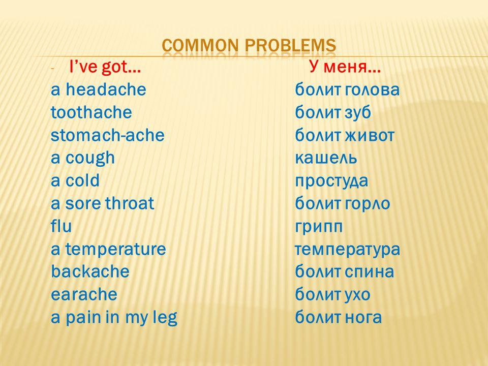 - I've got… У меня… a headache болит голова toothacheболит зуб stomach-ache болит живот a cough кашель a cold простуда a sore throat болит горло flu г