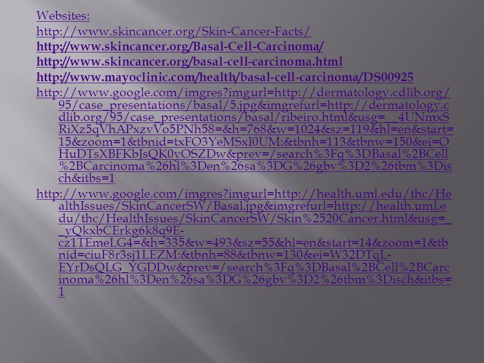 Websites: http://www.skincancer.org/Skin-Cancer-Facts/ http://www.skincancer.org/Basal-Cell-Carcinoma/ http://www.skincancer.org/basal-cell-carcinoma.