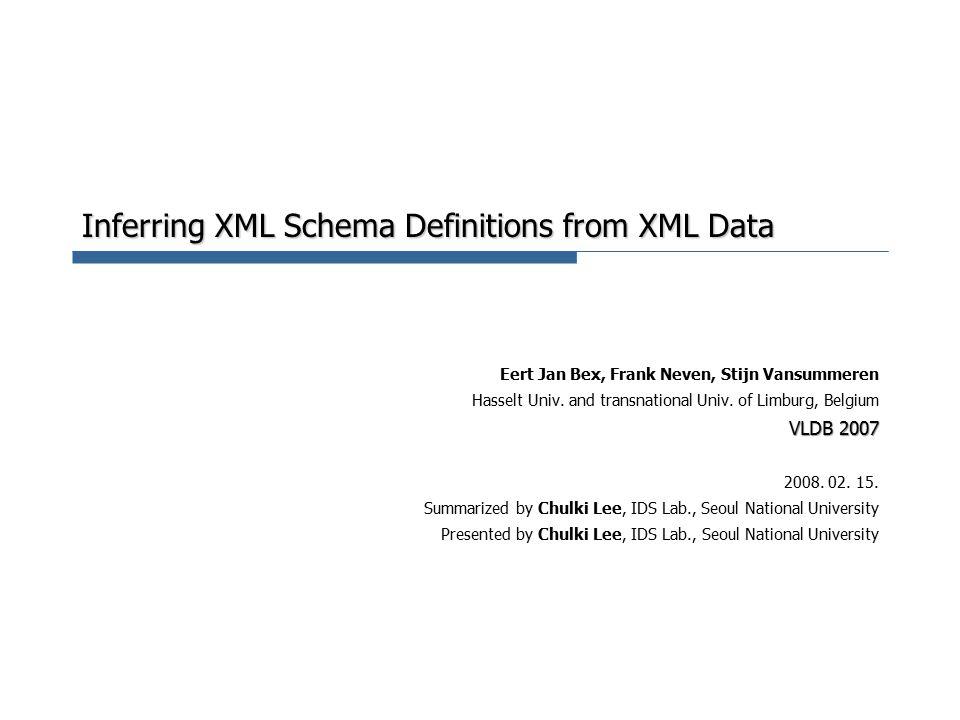 Inferring XML Schema Definitions from XML Data Eert Jan Bex, Frank Neven, Stijn Vansummeren Hasselt Univ.