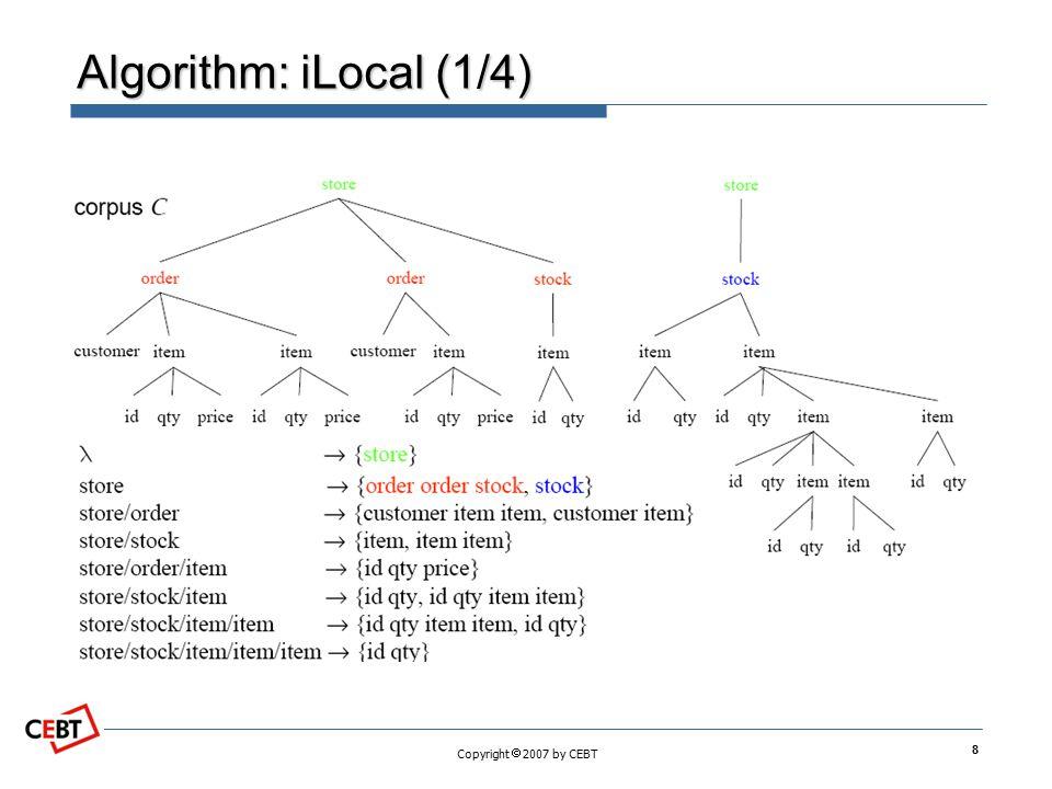 Copyright  2007 by CEBT Algorithm: iLocal (1/4) 8
