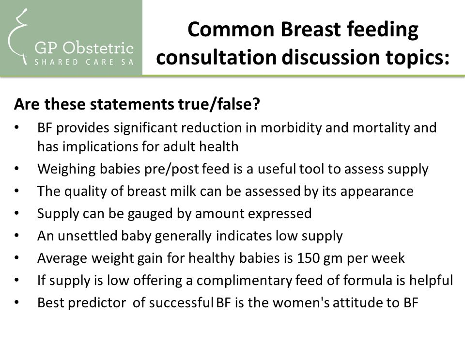 Common reasons for giving up breastfeeding (And for women to seek help from their GP) Breast and nipple pain Unsettled babies 'Poor weight gain' 'Not enough milk' Mastitis