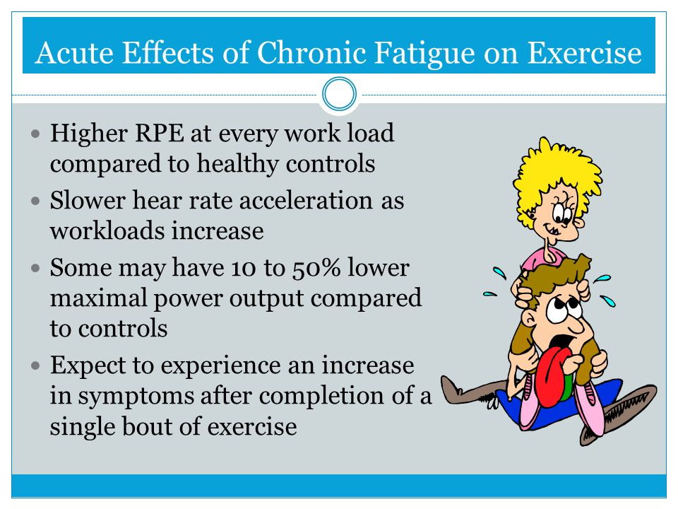 Acute Effects of Chronic Fatigue on Exercise Higher RPE at every work load compared to healthy controls Slower hear rate acceleration as workloads inc
