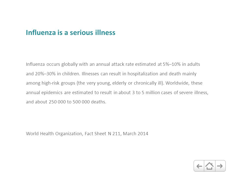 Influenza is a serious illness Influenza occurs globally with an annual attack rate estimated at 5%–10% in adults and 20%–30% in children. Illnesses c