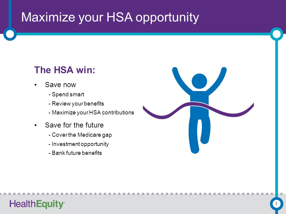 Maximize your HSA opportunity 3 The HSA win: Save now - Spend smart - Review your benefits - Maximize your HSA contributions Save for the future - Cov