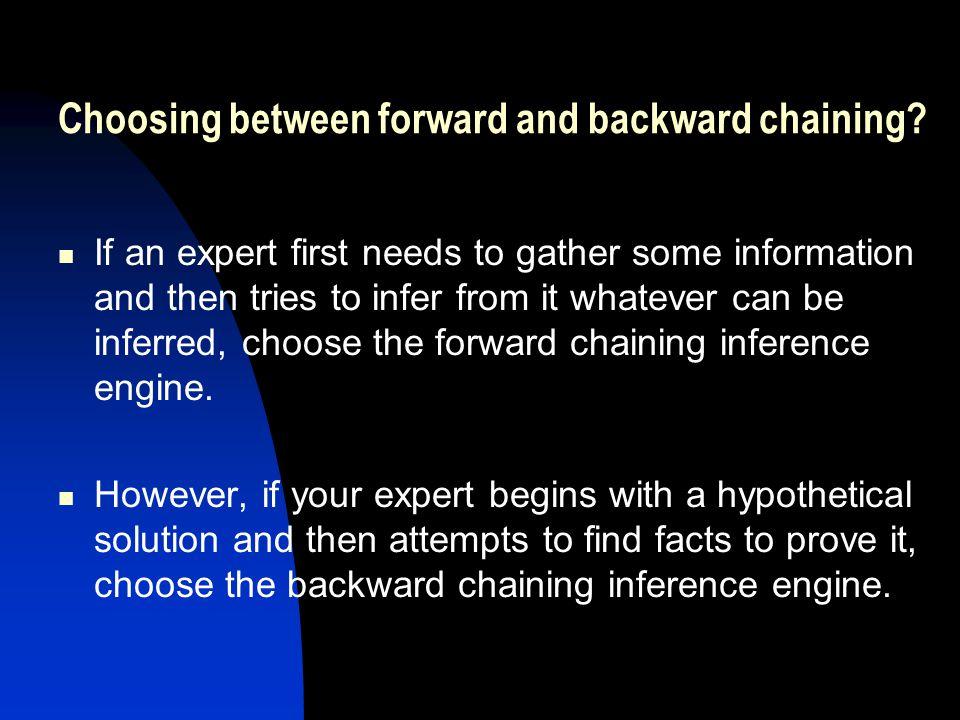 Choosing between forward and backward chaining.