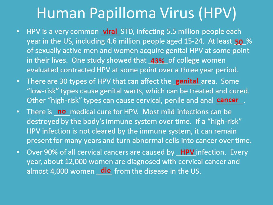 Human Papilloma Virus (HPV) HPV is a very common _____STD, infecting 5.5 million people each year in the US, including 4.6 million people aged 15-24.